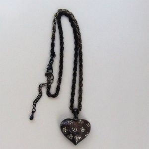 Antiqued Bronze Heart Rhinestone Pendant Necklace